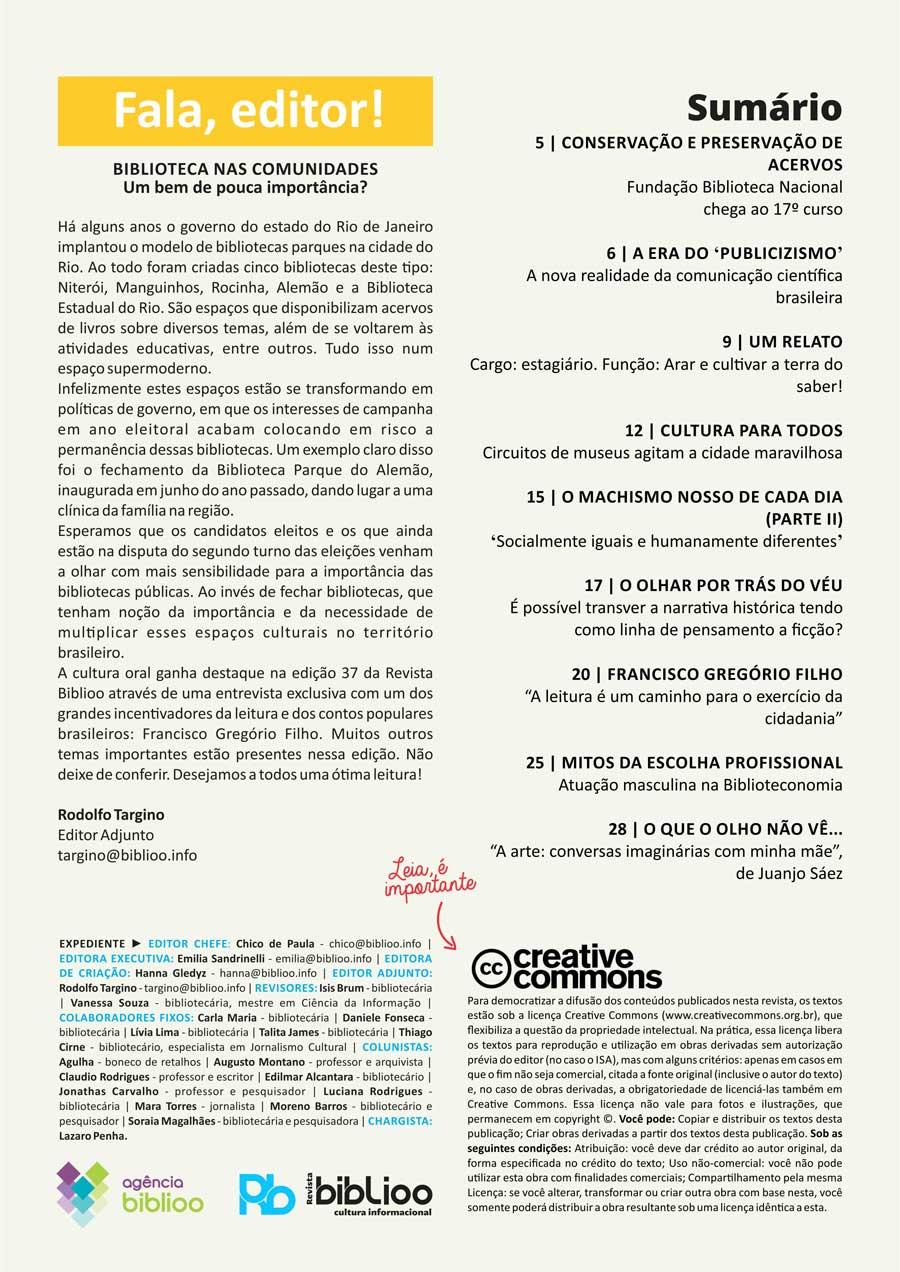 Revista Biblioo - Edição 37 - Sumário