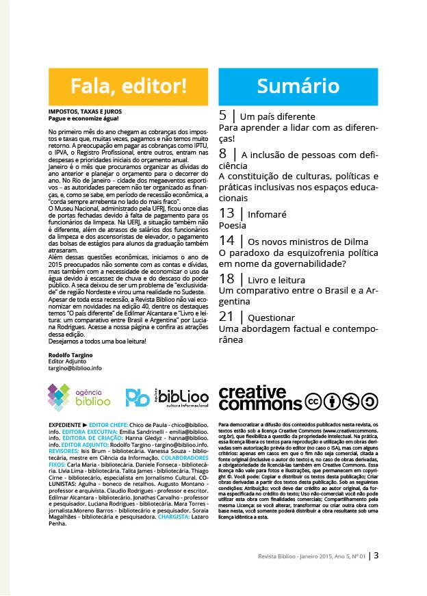 Revista Biblio - Edição 40 - Sumário