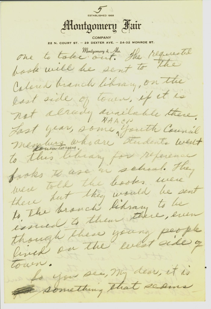 Manuscrito para um amigo, escrito em janeiro de 1956, em que Rosa descreve a segregação racial em Montgomery – Foto: Library of Congress, cortesia de Rosa and Raymond Parks Institute for Self Development