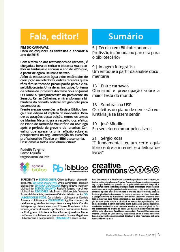 Revista Biblioo - Edição 41 - Sumário