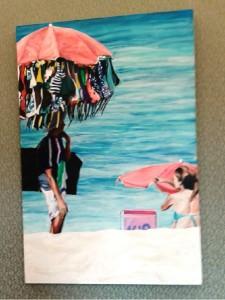Cena do cotidiano na praia. Presença do vendedor, da cadeira e guarda sol na praia. Foto: Luciana Rodrigues/Revista Biblioo