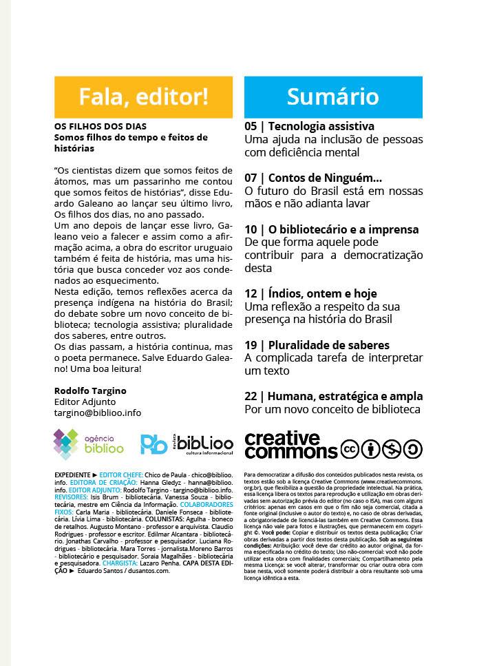 Revista Biblioo, edição 43 - Sumário
