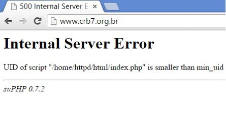 Print da tela do site do CRB7 que estava fora do ar essa manhã.
