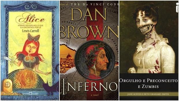 Capas dos livros Alice Através do Espelho e O Que Ela Encontrou Por Lá; Inferno; e Orgulho, Preconceito e Zumbis