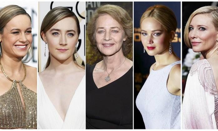 Brie Larson, Saoirse Ronan, Charlotte Rampling, Jennifer Lawrence, Cate Blanchett concorrem a categoria melhor atriz - STAFF / REUTERS